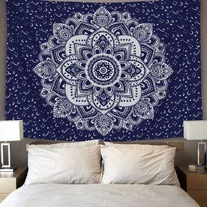Mandala Medallion Navy White Tapestry Wall Hanging